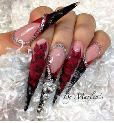 15 Lovely Red Valentine Nail Design Ideas - The Glossychic - red nail designs for valentine - Bling Acrylic Nails, Stiletto Nail Art, Best Acrylic Nails, Bling Nails, Swag Nails, Red Nails, Red Valentine, Valentine Nail Art, Valentine Makeup