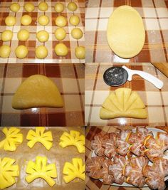 These cutouts would be great using a doughnut or funnel cake recipe. Mmmm...apple cider cutouts! From a Russian blog (it looks like) with great baking tips