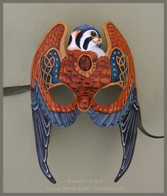This mask is a variant on my Gold Knotwork Falcon mask, but with male American Kestrel markings. It was commissioned by someone who wanted a matching mask to a pair of male American Kestrel w...