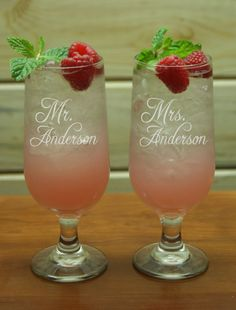 Mr Mrs Cocktail Glasses Personalized Glass by TheEngravery