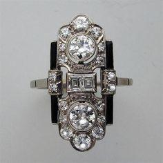 art deco diamond and enamel ring