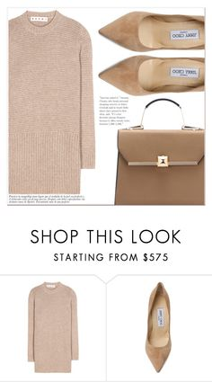 """""""Beige Motion"""" by lucky-1990 ❤ liked on Polyvore featuring Marni and Jimmy Choo"""