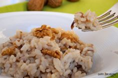 Risotto with red chicory provolone cheese  walnuts and extra virgin olive oil instead of butter