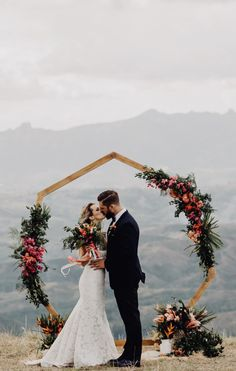 Heptagon arch, hexagon arch, geometric wedding inspiration, tropical elopement, tropical flowers , bride, Adventure Elopement Planner – Christen & Rob – Fiji Highlands - Kama catch me www.kamacatchme.com