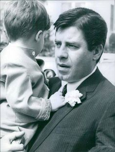 """Jerry Lewis with his son Joseph at Gary and his bride Sara Jane """"Jinky"""" Suzara's wedding, March 11, 1967."""