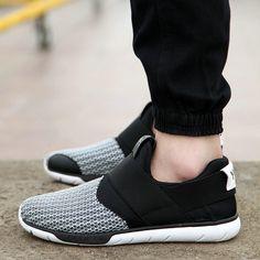 Patchwork Black Gray Designer Sport Shoes Men Casual Slip On Footwear Summer Espadrilles For Male Size 39 to 44