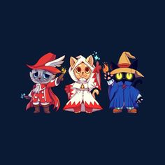 bd362dd1 Final Fantasy Red White Black Mage Cats Men's T-Shirt by TechraNova - Cloud  City. Cloud City 7