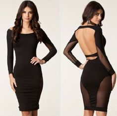 Sexy Back Scoop out Mesh Midi Dress f4f0835d6