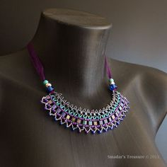 Beading Tutorial,Tribal Geometric Ribbon Necklace. Email PDF Pattern