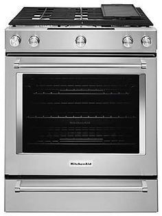 Learn about features and specifications for the 30-Inch 5 Burner Gas Convection Slide-In Range with Baking Drawer (KSGB900ESS)