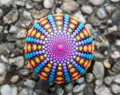 Piedra de Mandala mano pintada