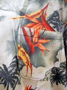 Tommy Bahama Hawaiian Shirt Medium Mens Green Bird of Paradise Palm Trees  Waves #TommyBahama #Hawaiian