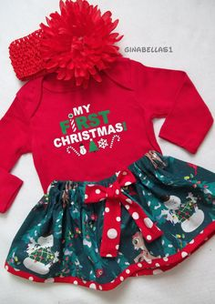 first christmas onesie baby girl outfit dress santa baby rudolph frosty snowman twins skirt red bow