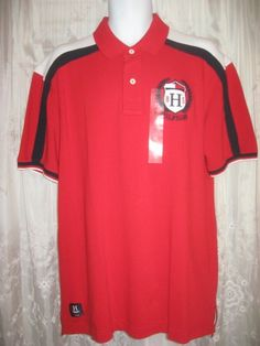 XL Tommy Hilfiger Slim Fit Polo Jersey Short Sleeve Men s Red White Blue  Shirt 283426eac0