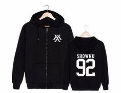 Monsta X Shownu 92 Boy Band K-POP Black Fashion Zipped Hoodie #MonstaX #Shownu #BoyBand #KPOP #Black #Fashion #Zipped #Hoodie #KIDOLSTUFF