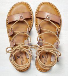 Natural AEO Ankle Tie Gladiator Sandal