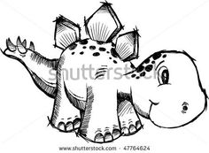 Dinosaur sketch stegosaurus dinosaur sketch doodle vector dinosaurs drawings easy step by step . Art Drawings For Kids, Cartoon Drawings, Easy Drawings, Drawing Sketches, Dinosaur Sketch, Dinosaur Drawing, Cute Dinosaur, Dinosaur Alphabet, Dinosaur Tattoos