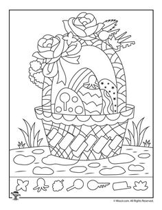 Easter Hidden Pictures Printable Activity Pages Ostern-Korb-verstecktes Bild-Farbtonseite Easter Coloring Sheets, Easter Colouring, Easter Worksheets, Primary School Art, Mandala, Easter Activities For Kids, Montessori Art, Easter Pictures, Hidden Pictures
