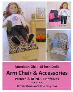 American Girl _ 18 in Doll Furniture PATTERN _ Arm Chair & Accessories _ Wood or Foam Board _ BONUS Guide _ Digital Download _ PDF_ Tate Museum Online _ etsy