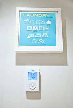 Laundry Cheat Sheet art - free printable (also awesome laundry room b4 and after pics)