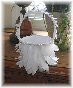 Handmade Flower Girl Basket  With PETALs BASKET WildExpressionsBride  www.wildexpressionsbride.etsy.com