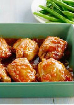 BBQ Glazed Chicken Thighs – Tender, juicy chicken thighs get a sweet and sticky glaze made with apricot jam and BBQ sauce in this easy weeknight recipe.