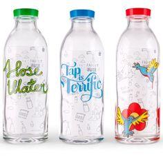 Three Glass Drinking Bottles #design #packaging