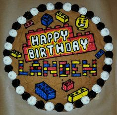 Lego Cookie Cake He wants white and green for border Giant Cookie Cake, Giant Cookies, Cookie Cake Birthday, Chocolate Chip Cookie Cake, Cookie Cakes, Big Cookie, Lego Birthday, Iced Cookies, Cupcake Cookies