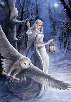Midnight Messenger Yule Greeting Card by Anne Stokes - pagan wiccan witchcraft magick ritual supplies