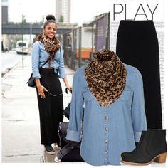 Maxi skirt, chambray shirt, leopard scarf