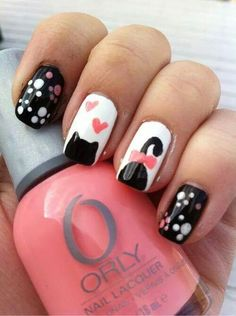 One of the cutest cat nail art designs ever! Fancy Nails, Love Nails, How To Do Nails, Pretty Nails, Cat Nail Designs, Nail Polish Designs, Cat Nail Art, Cat Nails, Nagel Gel