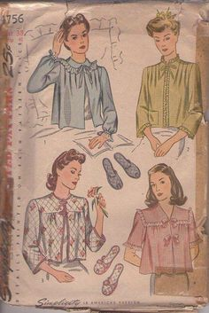 MOMSPatterns Vintage Sewing Patterns - Simplicity 4756 Vintage 40's Sewing Pattern LOVELY Modest Bed Jacket Set, Quilted or Satin Nylon Hospital Gown Cover Ups, Open Toe Slippers Size 38
