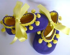 Purple and Yellow Pom Pom Felt Baby Shoes Small £10.00