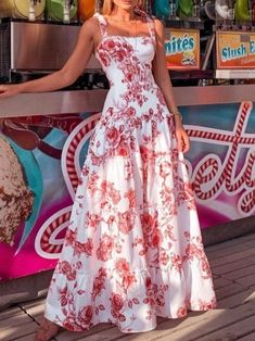 Mode Kpop, Maxi Robes, Vacation Dresses, Vacation Wear, Vacation Style, Floral Maxi Dress, Floral Dress Outfits, Cute Floral Dresses, Dress Brands