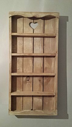 WOODEN RUSTIC COTTAGE SPICE RACK 5 TIER - STORAGE - WALL - SHELVING - KITCHEN in…