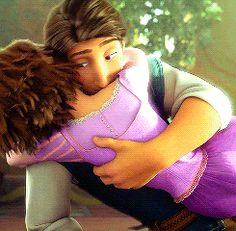 Rapunzel and Eugene. Look at the way he hugs her. Rapunzel starts crying because she is so happy and Eugene hugs her tighter, to reassure her everything is okay! Disney Rapunzel, Rapunzel Flynn, Walt Disney, Disney Love, Disney Magic, Tangled Flynn, Disney Couples, Jelsa, Rapunzel Und Eugene