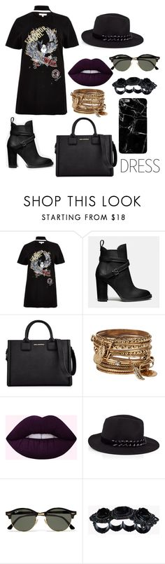 """choker dress"" by ollesya ❤ liked on Polyvore featuring River Island, Coach, Karl Lagerfeld, ALDO, Ray-Ban, Dsquared2 and Harper & Blake"