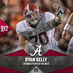 Ryan Kelly named Offensive Player of the Week. #BAMAvsAUB #Alabama #RollTide #BuiltByBama #Bama #BamaNation #CrimsonTide #RTR #Tide #RammerJammer #ALAvsAUB #IronBowl