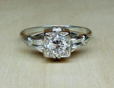 Vintage Antique .50ct Old European Cut Diamond 14k White Gold Unique Engagement Ring 1920's Art Deco by DiamondAddiction on Etsy
