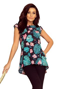 7a0f13759cdee2 A wide trapezoidal blouse with two pockets and a zipper - black with green  leaves and