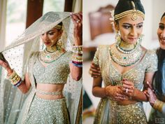 Bridal Lehengas - Mint Green Sequinned Lehenga with Mint Green Net Dupatta, Gold, Diamond and Emerald Choker Set with Gold Maatha Patti | WedMeGood #wedmegood #indianbride #indianwedding #realwedding #lehenga