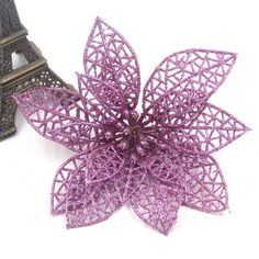 Hot!3PCS/Lot Christmas Glitter Hollow Artificial Flowers For Xmas Tree Ornament Christmas Home Party Supplies