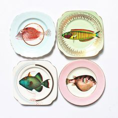 Fancy+Fish+plate+set+by+yvonneellen+on+Etsy,+$82.00
