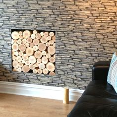 A small alcove in a wall can be a real feature if filled with a stack of decorative logs! Our natural logs for display purposes are clean and insect/mould free - ideal for interior design uses. Available from www.thelogbasket.co.uk