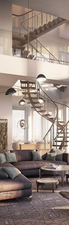 """Love the """"floating"""" staircase and glass."""