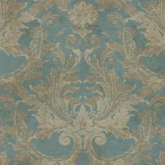 Aida Damask Wallpaper in Blue and Gold design by York Wallcoverings