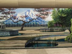 A mural titled Waterway by artists John Pugh and Mark Spijkerbosch. Huatoki Plaza, New Plymouth, Taranaki, NZ.