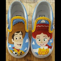 Woody and jessie #kimmiescustomkicks #kimberlys_creations #handpaintedshoes #customshoes #customvans #vans #toystory #toystoryshoes #woody #sheriffwoody #jessie #cowgirljessie #woodyandjessie #vansoffthewall #canvasart