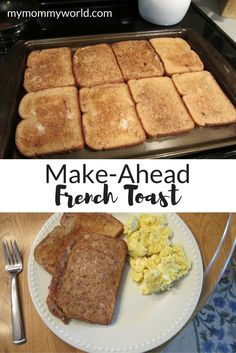 The Ultimate PInterest Party, Week 119 This easy make-ahead French toast recipe will allow you to give your kids homemade French toast even on busy school mornings. You can bake a big batch on the weekends, freeze it, and then it's ready to use for a healthy and hearty breakfast when you don't have a lot of time to cook.