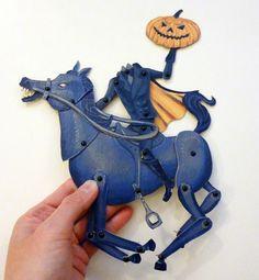 Legend of Sleepy Hollow, Headless Horseman, Paper Doll, Doll Set, Folk Art Doll, OOAK, Halloween Paper Puppet